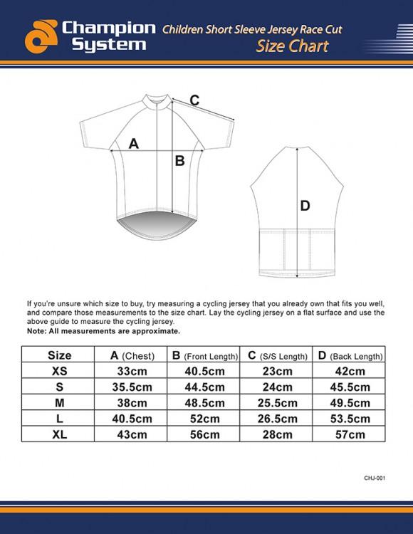 Childrens Short Sleeve Cycling Jersey Sizing Chart - Race Cut