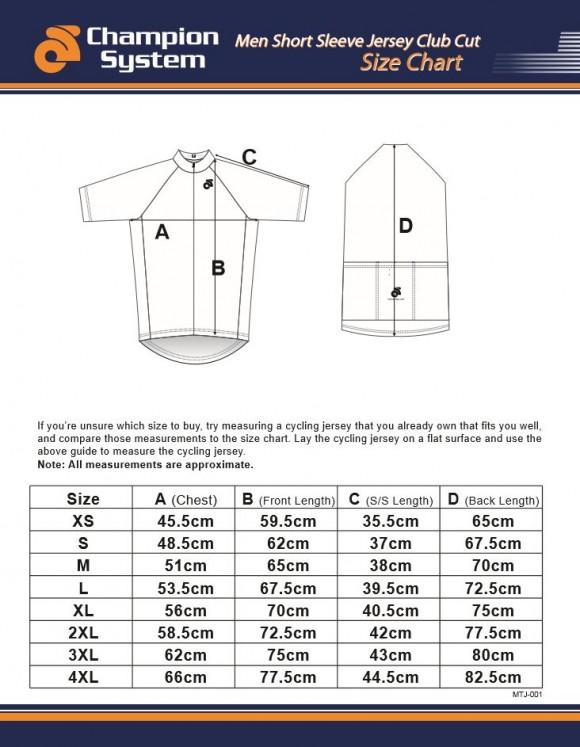 Mens Short Sleeve Cycling Jersey Sizing Chart