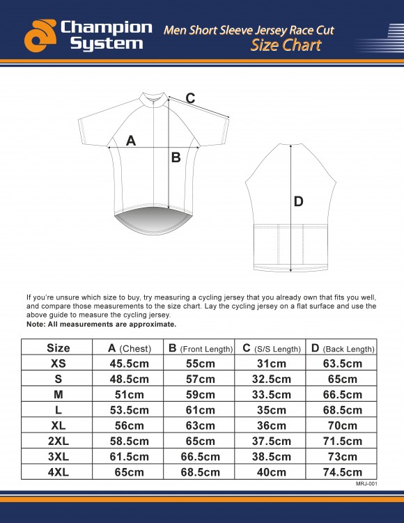 Mens Short Sleeve Cycling Jersey Sizing Chart - Race Cut