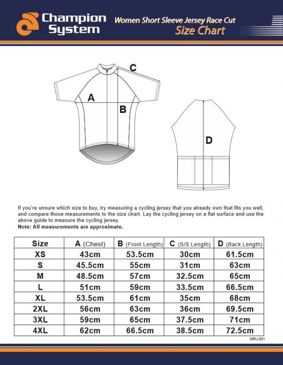 Womens Short Sleeve Cycling Jersey Sizing Chart