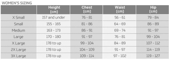 womens downhill sizing